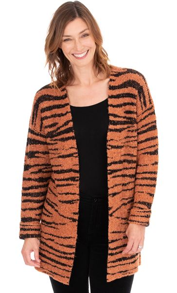 Tiger Design Open Knit Cardigan Black/Rust