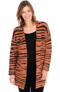 Tiger Design Open Knit Cardigan