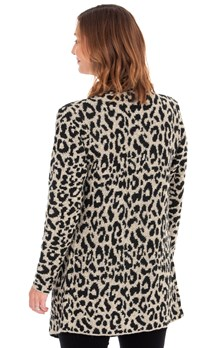 Animal Print Waterfall Knit Cardigan