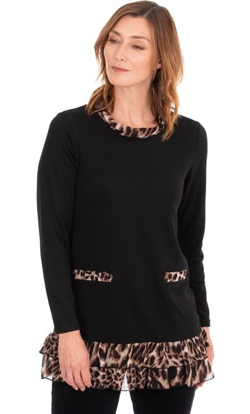 Chiffon Animal Trim Knitted Tunic