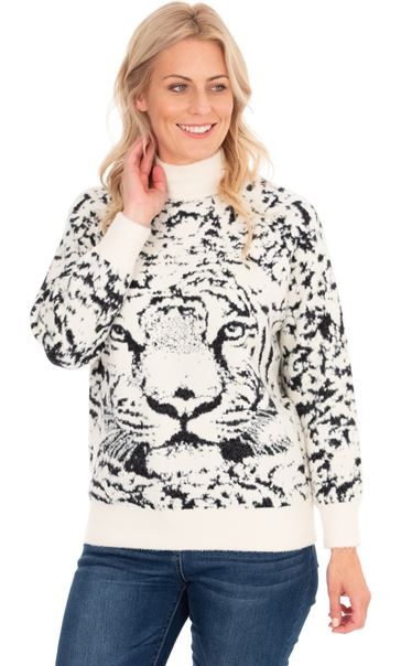 Tiger Face Long Sleeve Knitted Top Beige
