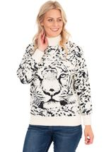 Tiger Face Long Sleeve Knitted Top