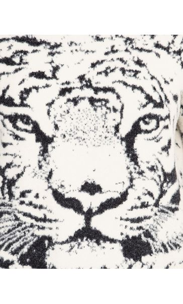 Tiger Face Long Sleeve Knitted Top Beige - Gallery Image 3