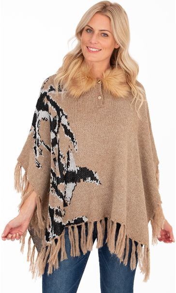 Faux Fur Trim Knitted Poncho Camel