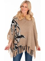 Faux Fur Trim Knitted Poncho Camel - Gallery Image 1