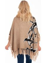 Faux Fur Trim Knitted Poncho Camel - Gallery Image 2