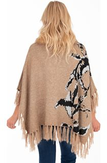 Faux Fur Trim Knitted Poncho