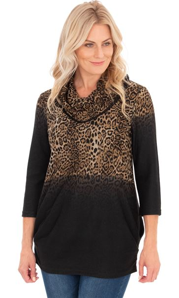 Leopard Print Cowl Neck Knitted Tunic Browns