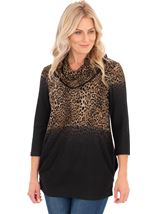 Leopard Print Cowl Neck Knitted Tunic