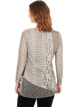 Layered Long Sleeve Lace Tunic Beige - Gallery Image 2