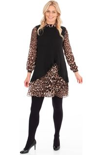 Animal Chiffon And Knit Layer Dress