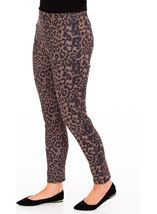 Animal Print Slim Leg Suedette Trousers