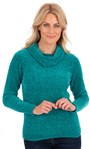 Cowl Neck Long Sleeve Chenille Top Emerald - Gallery Image 1