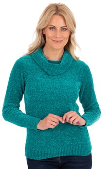 Cowl Neck Chenille Knit Top - Green