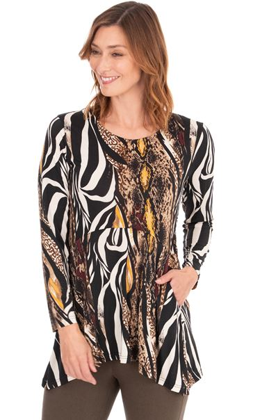 Long Sleeve Animal Print Jersey Tunic Black/Mustard