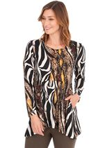 Long Sleeve Animal Print Jersey Tunic Black/Mustard - Gallery Image 1