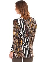 Long Sleeve Animal Print Jersey Tunic Black/Mustard - Gallery Image 2