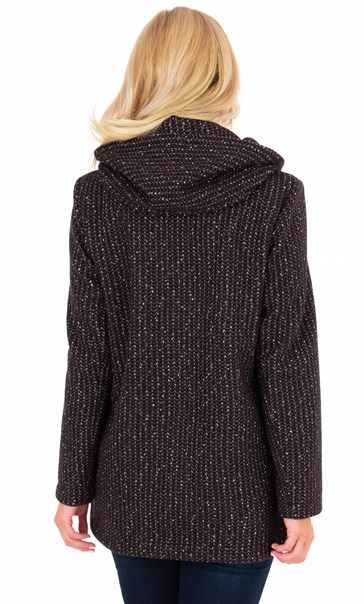 Hooded Textured Coat Wine/Black - Gallery Image 2