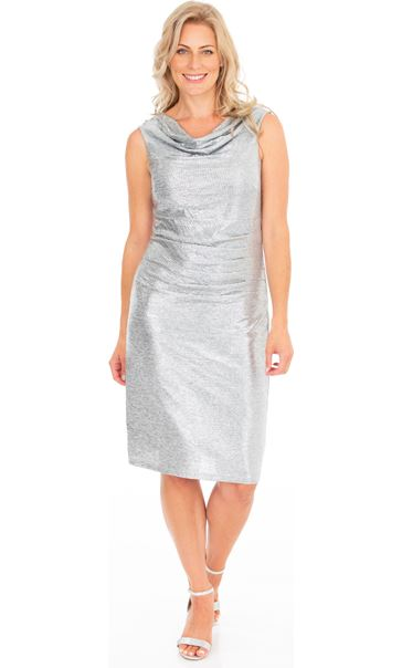 Sleeveless Cowl Neck Sparkle Dress