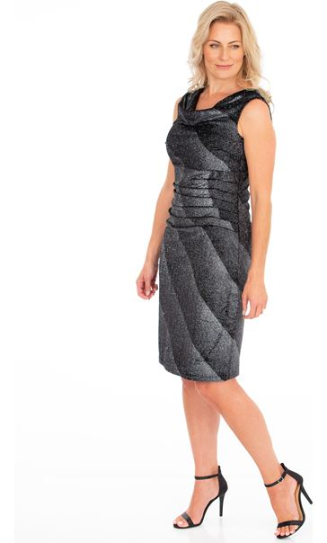 Sleeveless Ombre Stripe Shimmer Velour Dress Black/Silver