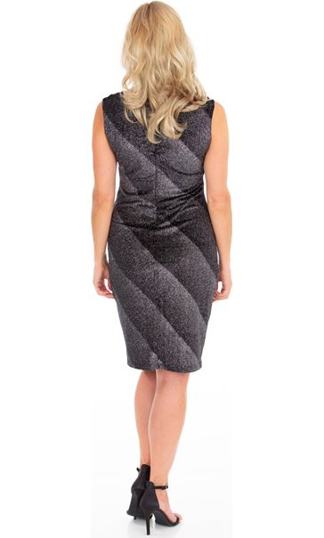 Sleeveless Ombre Stripe Shimmer Velour Dress Black/Silver - Gallery Image 2