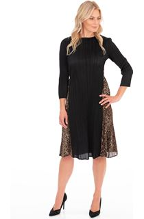 Animal Panel Pleated Midi Dress