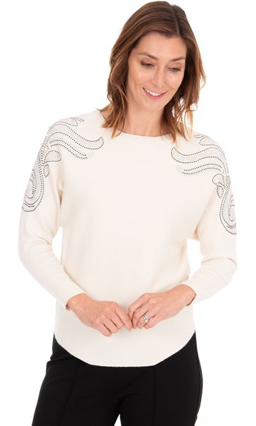 Embellished Knitted Batwing Top White