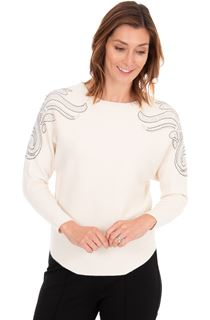 Embellished Knitted Batwing Top