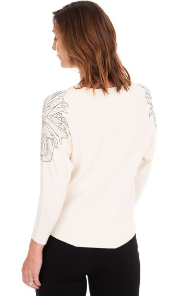 Embellished Knitted Batwing Top White - Gallery Image 2