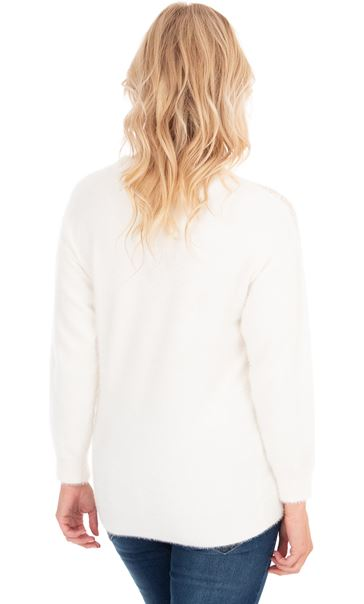Sequin Trim Eyelash Knitted Top - White