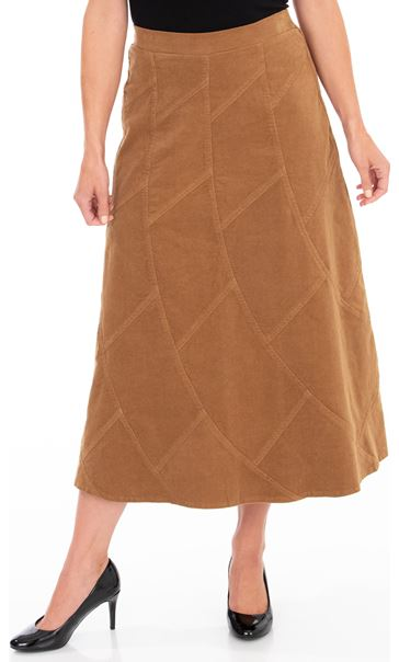 Panelled Cord Maxi Skirt Camel