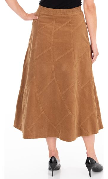 Panelled Cord Maxi Skirt Camel - Gallery Image 2