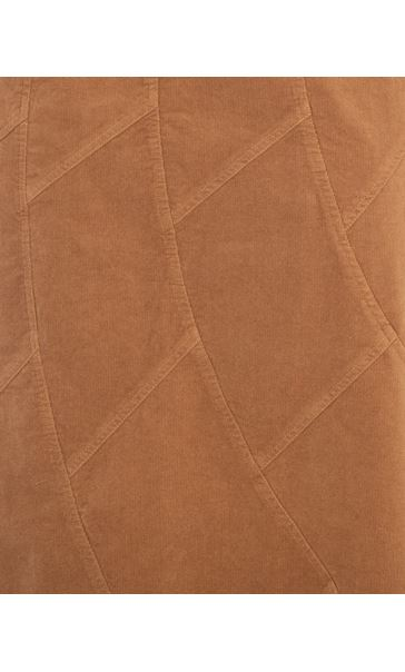 Panelled Cord Maxi Skirt Camel - Gallery Image 3