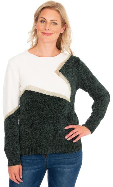 Colour Block Chenille Long Sleeve Top W.White/F.Green/Gold