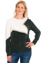 Colour Block Chenille Long Sleeve Top