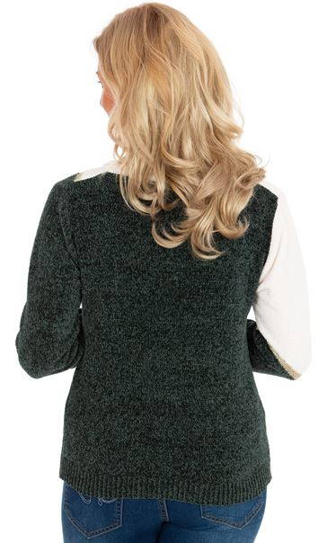 Colour Block Chenille Long Sleeve Top W.White/F.Green/Gold - Gallery Image 2