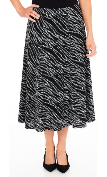 Anna Rose Animal Print Midi Skirt Black/Grey