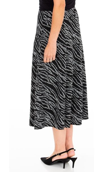 Anna Rose Animal Print Midi Skirt Black/Grey - Gallery Image 2