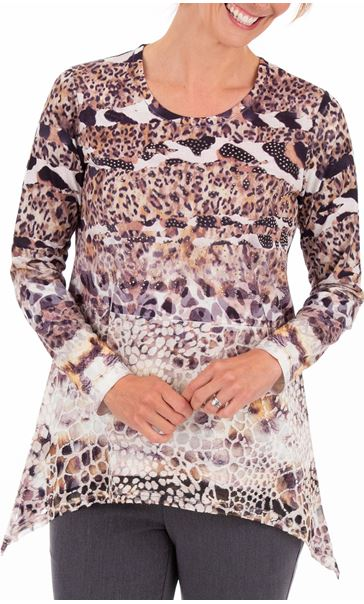 Anna Rose Animal Print Embellished Top Black/Sand Multi