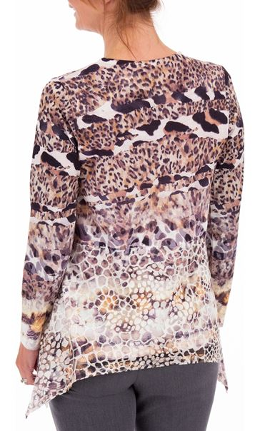 Anna Rose Animal Print Embellished Top Black/Sand Multi - Gallery Image 2