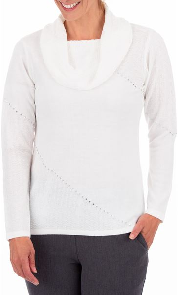Anna Rose Cowl Neck Knit Top Ivory