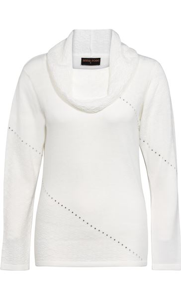 Anna Rose Cowl Neck Knit Top Ivory - Gallery Image 3