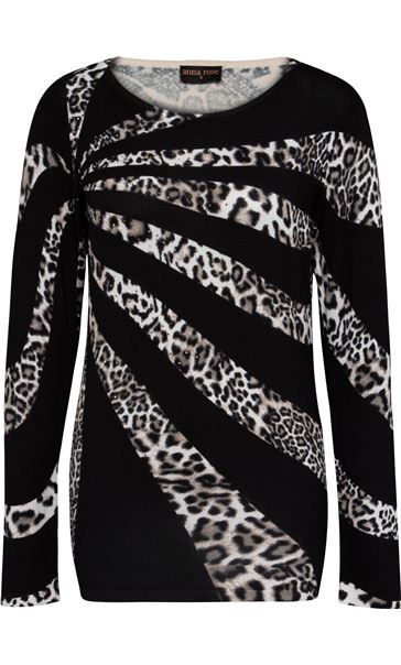 Anna Rose Leopard Print Knit Top Black/Ivory