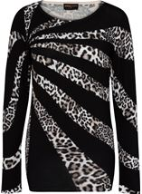 Anna Rose Leopard Print Knit Top Black/Ivory - Gallery Image 1
