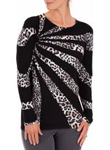 Anna Rose Leopard Print Knit Top Black/Ivory - Gallery Image 2