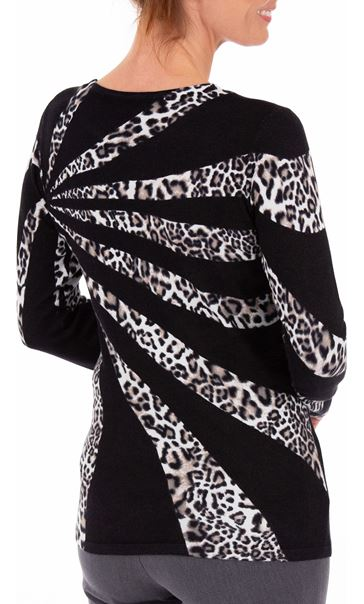 Anna Rose Leopard Print Knit Top Black/Ivory - Gallery Image 3