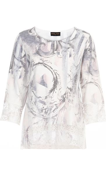 Anna Rose Embellished Print Knit Top Ivory/Dusty Pink - Gallery Image 4