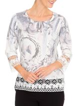 Anna Rose Embellished Print Knit Top Ivory/Dusty Pink - Gallery Image 1