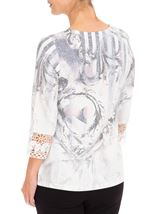 Anna Rose Embellished Print Knit Top Ivory/Dusty Pink - Gallery Image 2
