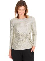 Metallic Side Knot Long Sleeve Top